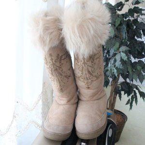 J. Crew Tan Suede Faux Fur Winter Boots 8